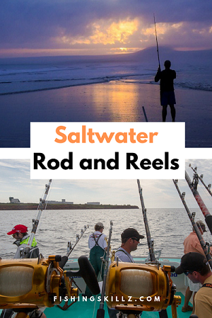 collection of saltwater rod and reel combos