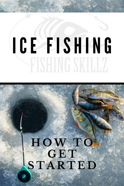 ice fishing hole with perch