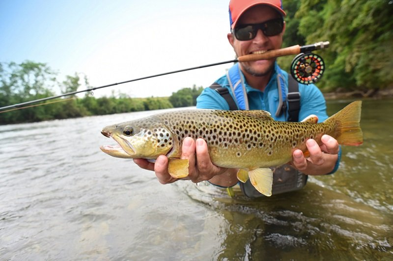 man holding large brown trout in hands